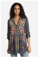 NWT $260 Johnny Was Sz XS Graphite Gray Lyndsey Tunic Embroidered Blouse Top