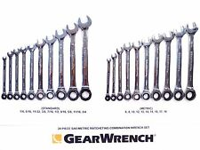 NEW GEARWRENCH 20 pc STANDARD SAE & METRIC RATCHETING COMBINATION WRENCH SET