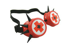 RED CYBER GOGGLES WITH BLACK SPIKES MEDICAL CROSS CYBERGOTH RAVE COSPLAY
