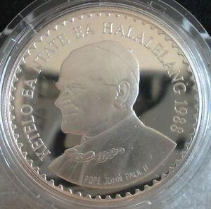 LESOTHO 10 Maloti 1988 Silver Proof Pope John Paul Visit