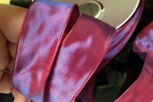 """Vintage French Ribbon Acetate 7/8"""" Red Purple Berry 1yd Made in France"""