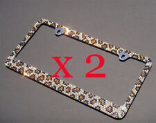 2 PCS 7 Rows LEOPARD Bling Diamond Crystal Metal License Plate Frame and Caps