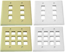 One Keystone Wall Plate 2 Gang White or Ivory 4,6,8, or 12 port *WIDE JACKS FIT*