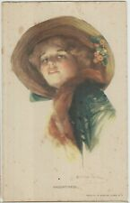 PRETTY LADY Artist Signed Hat Haughtiness Vintage Coloured American PC c1910s