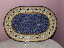 Polish Pottery Large Oval Platter! UNIKAT Signature Butterfly Summer Pattern!