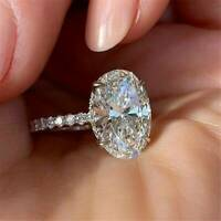 Gorgeous Oval Cut 925 Silver White Sapphire Rings Women Wedding Ring newly