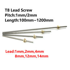 T8 Lead Screw Pitch 1mm2mm Lead 12481214mm Rod Stainless With Brass Nut