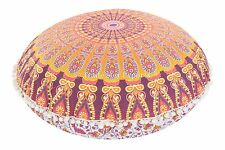 Indian Floor Throw Pillows with Insert Ombre Mandala Round Pouf Cotton Cushion