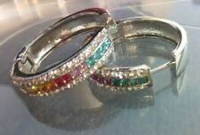 """Made with Swarovski Crystals Silver Tone 2"""" Hoops, Crystals Rainbow Palette"""