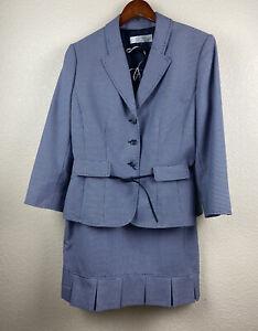 TAHARI Arthur S. Levine Blue Suite Skirt 2 PC Size 12