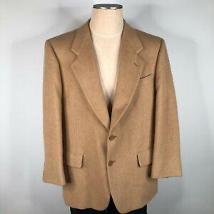 Vintage Bill Blass Blazer Suit Jacket Mens 44 R Tan 100% Camel Hair 2 Button