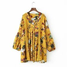 New Womens Ladies Fashion V-Neck Lantern Sleeve Lace Mix Mini Dress