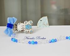 Blue Pacifier clip made with Swarovski Crystals, Beads and Pearls. Teddy Bear