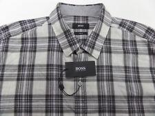 Hugo Boss Mens Robbie 1 Black Gray White Plaid Check Slim Fit Shirt XL