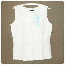 Damen T-Shirt Aufdruck Top Shirt Freizeit Einheitsgröße 32 34 36 38 beige weiß