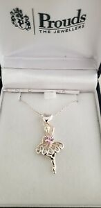 Sterling Silver Pink Cubic Zirconia Ballerina Pendant. 44cm chain included.