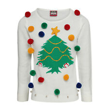 Traditional Christmas Tree Design Women's 3D Open-Neck Classic White Jumper