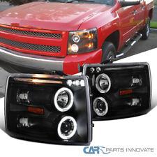 For 07-14 Silverado 1500 2500HD 3500HD Pickup Black Halo Projector Headlights