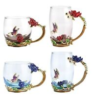 Flower Tea Cup, INTIGNIS® Lead-Free Handmade Glass Enamel Mugs with Delicate...