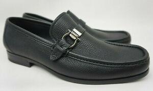 Salvatore Ferragamo Muller Black Leather Loafers Men's Shoes Size US 8 EEE 3E