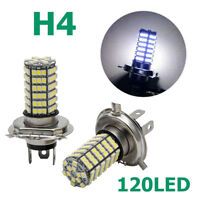 2X H4 Xenon White 120 LED 3528 SMD Fog Headlight Hi/Lo Beam Bulb Light Lamp 12V
