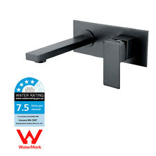 WELS Bathroom Vanity Square Basin Sink Wall Mount Mixer Tap Polish Black Faucet