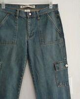 GAP Low-Rise Cropped Capri Jeans Size 8 100% Cotton 34 X 25.5 Cargo Pockets