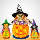 Rocinha Halloween Pumpkin Lantern with Witch Hat Set of 3 Light up Jack-O-Lanter