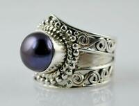 Freshwater Black Pearl Ring 925 Solid Sterling Silver Handmade Size F-Z1/2 UK