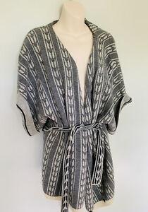 Rachel Roy Longline Open Jacket Coat 90% Wool 10% Cashmere Boho Style