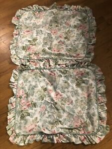 Vintage RARE Laura Ashley Standard Size Pillow Sham Cottage Rose Pink Green