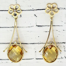 Natural Citrine Diamond Dangle Drop 18k Yellow Gold Fine Earrings