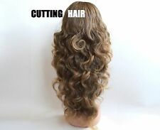 Layers Brown Light Brown Highlights Long Curly 3/4 Wig Hairpiece Half Wig 071