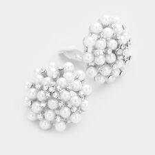 """1.5"""" Round White Pearl Beaded Clip-On Earrings"""