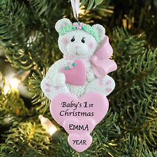 TEDDY BEAR Heart Pink Baby`s First Christmas Personalized Christmas Ornament