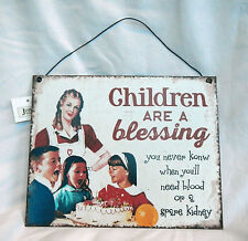 Retro Style Enamel Sign / Plaque - Children are a Blessing -  BNWT
