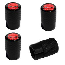 4 Black Billet Aluminum Knurled Tire Air Valve Stem Caps - RED SKULL G B 4SP