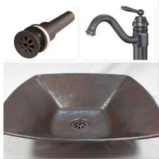 """15"""" Square Copper Vessel Vanity Sink with Daisy Drain & Faucet Combo"""
