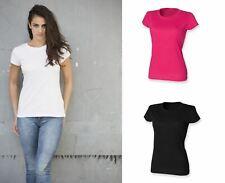Ladies Cotton Crew Neck T-shirt Short Sleeve Top Black White Pink SK281