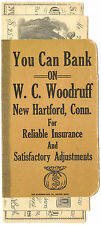 OLD You Can Bank on WC Woodruff New Hartford Conn Fake Bankbook & Bills Advert.