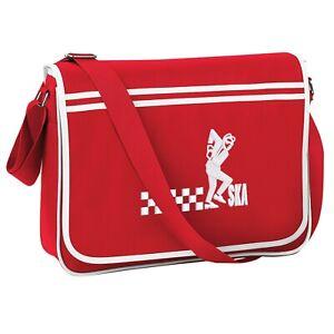 Unisex Ska Man Retro Messenger Bag With Embroidered Logo. Ska. Two Tone. Mod