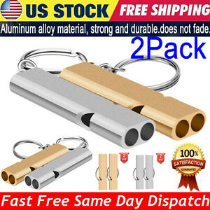 2Pcs 120db Loud Survival Whistle KeyChain Outdoor SOS Emergency Camping Hiking