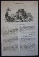 1838 VEDUTA DI REGGIO DI CALABRIA  xilografia Cosmorama pittorico