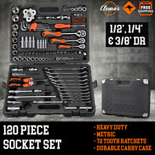 120pcs Socket  Set 1/2 1/4 & 3/8 Metric + 11 Combination Spanners Ratchet Wrench