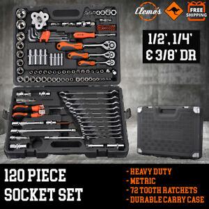 120pcs Socket  Set 1/2 1/4 & 3/8 Metric + 11 Combination Spanners Ratchet Wrench