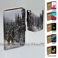 For LG Series Mobile Phone - Snow Forest Theme Print Wallet Phone Case Cover
