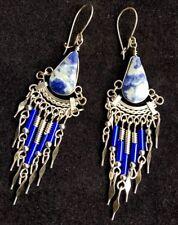 Bohocoho ECCENTRICO Boho Gypsy 70s stile Deep Blue & Silver Orecchini frange Dangle