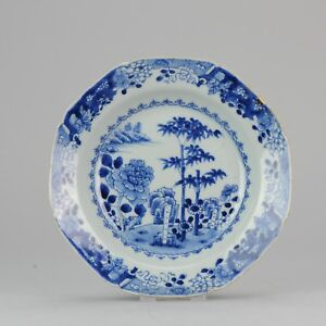 Antique 18th Dinner Dish Qing Chinese Porcelain China Blue & White