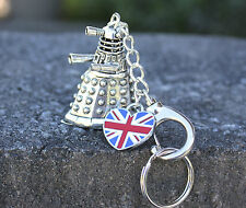 EXTERMINATE! Who Keychain - 3D Alien and Heart-shaped UK flag - British, Whovian