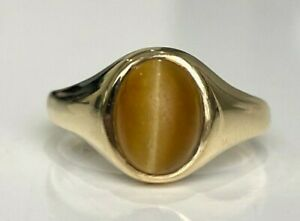 9k solid gold & honey Tiger's Eye ring 3.60g size N -  6 1/2